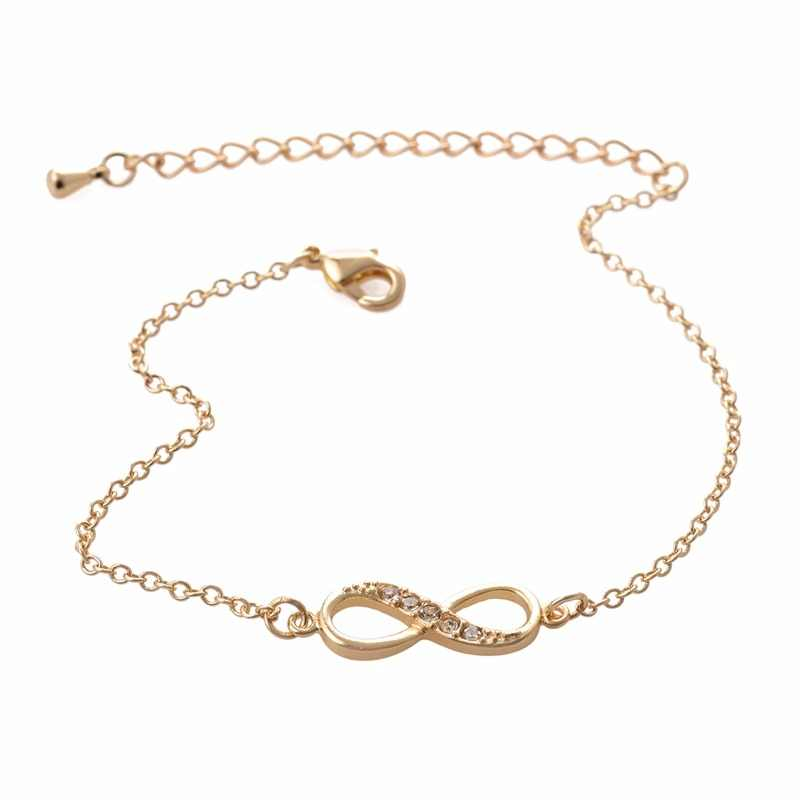 Shuangshuo 2017 New Fashion Infinity Bracelet for Women with Crystal Stones Bracelet Infinity Number 8 Chain Bracelets bileklik