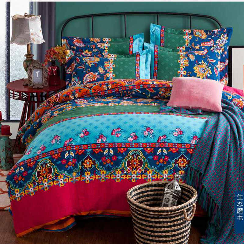 bohemian duvet cover king boho home textile bedding set 100 thicken cotton blue 4856