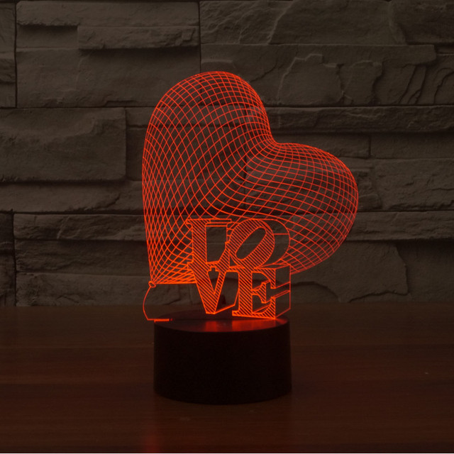 7colors changing LOVE heart colorful 3D gradient light touch switch visual illusion lamp LED lamp Acrylic lamp light IY803382