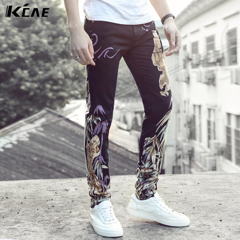 ФОТО Men's new slim print jeans Male causal elastic denim straight pants Long trousers Free shipping