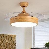 LukLoy светодио дный светодиодный Ресторан потолочный деревянный вентилятор свет Невидимый скандинавский бесшумный вентилятор лампа Европе