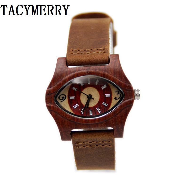 2016 Hot eyes Antique 100% Natural Red Wooden Watch For Female's Best Gift With Guniue Leather Straps  Women Wristwatches box цена и фото