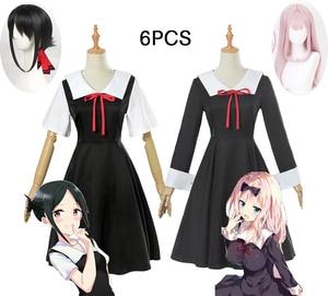 Image 1 - אנימה Kaguya sama: אהבה היא מלחמת קוספליי תלבושות Kaguya צ יקה קוספליי תלבושות יפני בית ספר אחיד נשים קיץ שמלת ופאות
