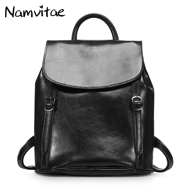 Namvitae 100% Genuine Cow Leather Backpack Design for Female Travel Bag High Quality Fashion Women Backpack 2018 NEW Trends namvitae genuine leather women backpack fashion design teenage girls school bags cow leather female backpacks casual travel bag