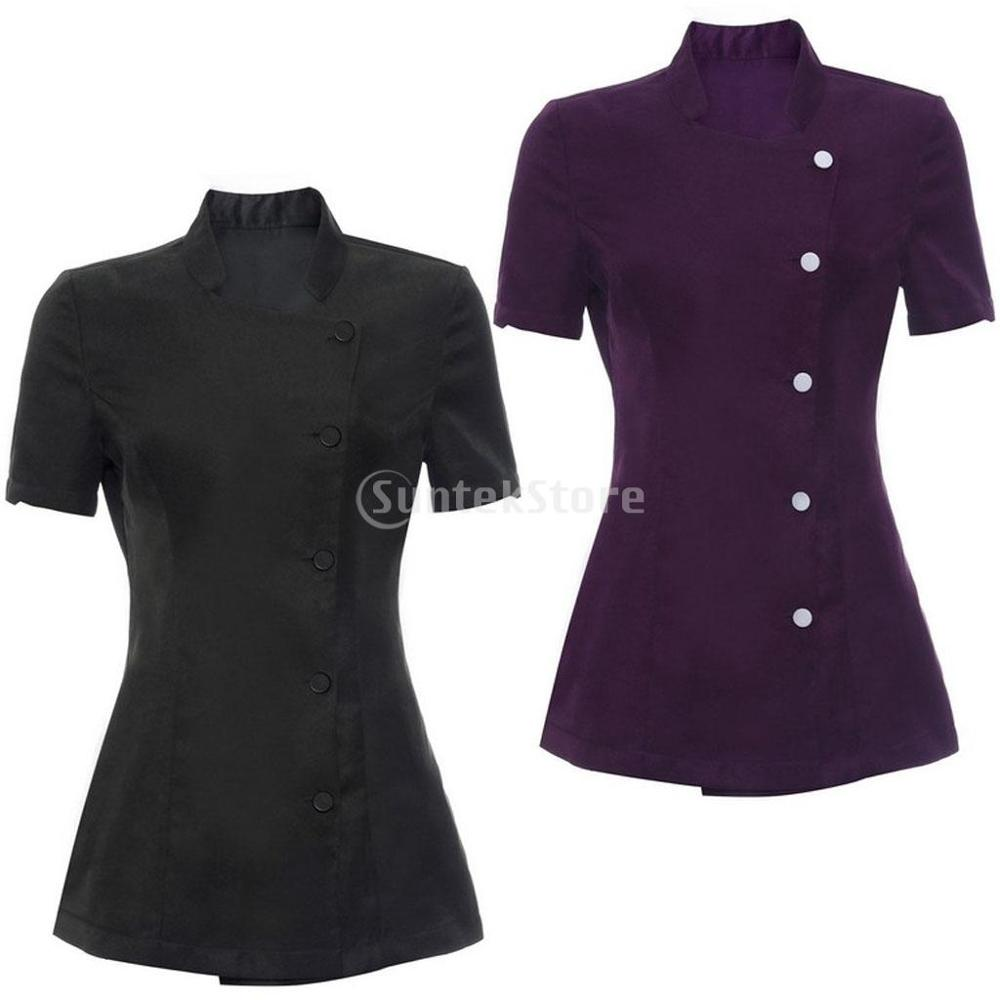 Solid Color Women Ladies Salon Spa Beauty Beautician Hairdressers Nails Uniform Tunic Work Clothes