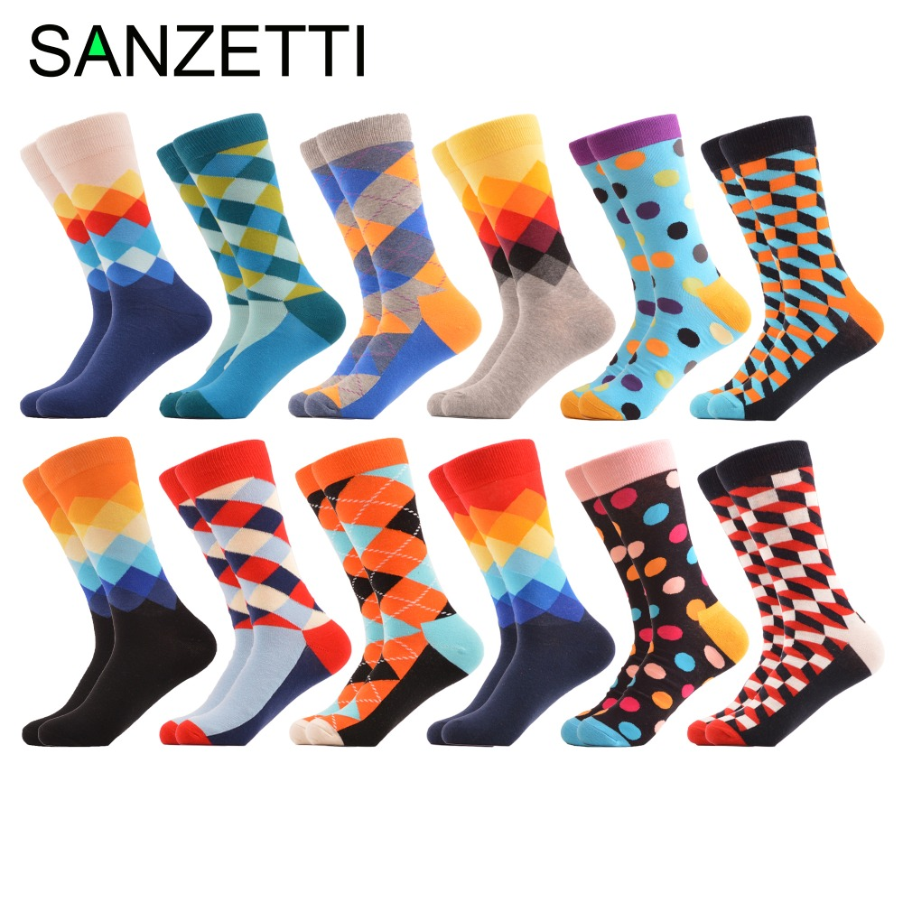 SANZETTI 12 pairs/lot Classic Colorful Combed Cotton Mens Crew Skateboard Socks Geometric Pattern Causal Funny Happy Socks