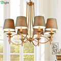 Vintage Country Pastoral E14 Led Pendant Chandeliers Creative Painted Iron&Fabric Shades Foyer Bedroom Led Chandelier Light