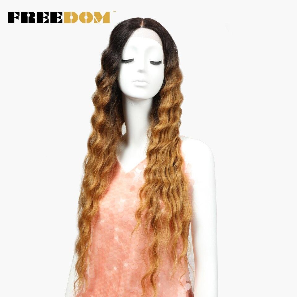 Свобода Синтетические волосы на кружеве парики для черный Для женщин 30' темно корень блондинка коричневый длинные волнистые Омбре синтетич...