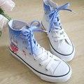 Web HARAJUKU sapatas de lona alta feminino rabisco estilo preppy calcanhar plana plana sapatos anexado os patins
