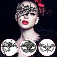 Noir Métal Venise Masque Femmes Sexy Moitié Du Visage Masque Parti Masques Pour Mascarade Halloween Vénitien Costumes Carnaval