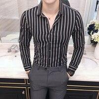 100 Cotton Men Striped Shirt Fashion Designer 2018 Autumn Winter Casual Men S Shirts Dress Slim