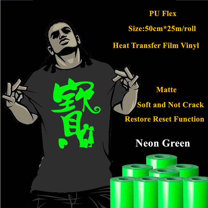 Heat Transfer Vinyl For Clothing Neon Green Heat Press Film for t shirt PU Heat Transfer Film Vinyl 50cm*25m/roll 20''*25yd free shipping 5rolls 50cmx100cm heat transfer vinyl film pet metal light mirror finish for textile print