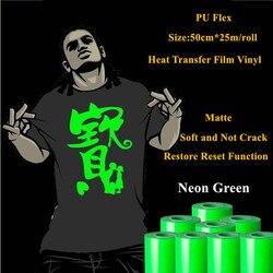 Wärme Transfer Vinyl Für Kleidung Neon Grüne Wärme Drücken Film für t shirt PU Heat Transfer Film Vinyl 50cm * 25m/roll 20 ''* 25yd