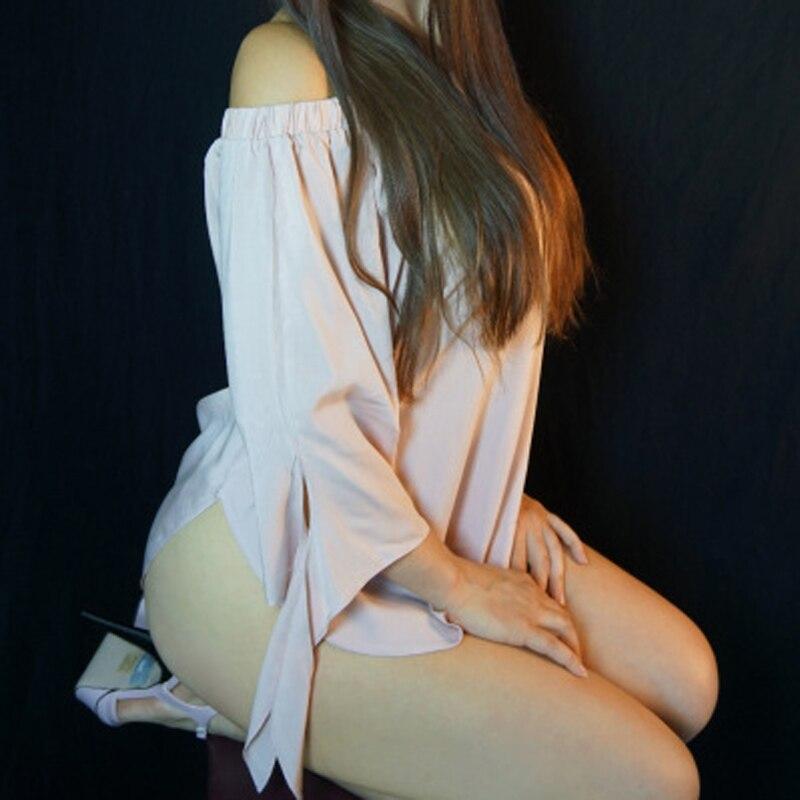EliaCher Plus Ukuran Wanita Blus Seksi Slash Leher Off Bahu Busur - Pakaian Wanita