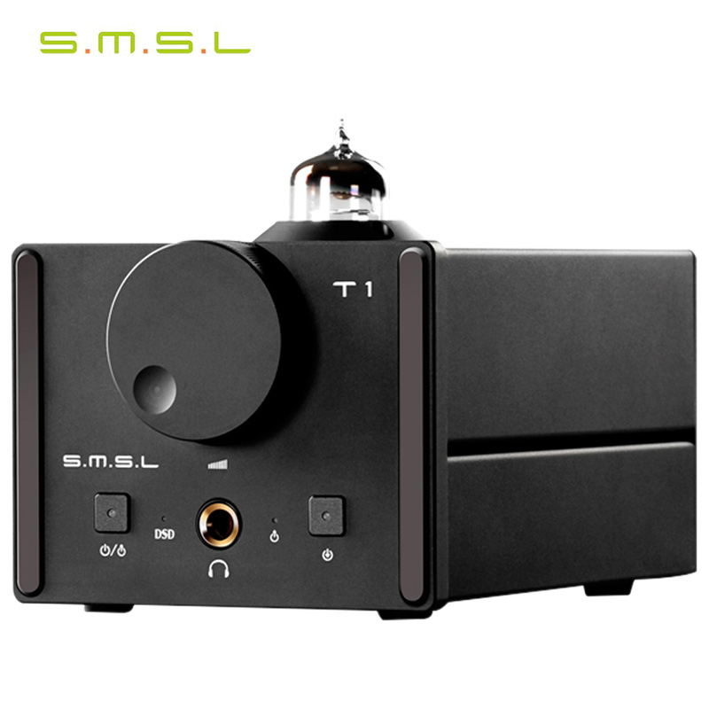 SMSL T1 DAC DSD512 384kHz Optical\Coaxial\USB\Decoder Tube Headphone Amplifier smsl sd 793ii dir9001 pcm1793 opa2134 coaxial optical mini dac headphone amp black color