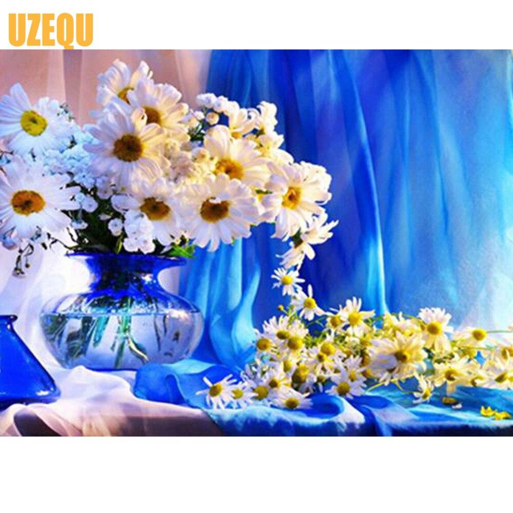 Uzequ 5d diament malarstwo cross stitch chryzantemy kwiat diament - Sztuka, rękodzieło i szycie - Zdjęcie 1