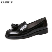 RASMEUP Patent Leather Women's Flat Shoes 2018 Fashion British Style Comfort Women Loafers Woman Tassel Casual Slip On Flats