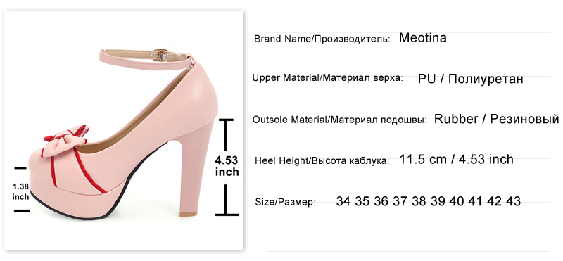 b20d28b5e52 Meotina 2018 Spring Women Shoes Pumps Platform High Heels Ankle Strap Party  Wedding Shoes Bow Shoes Big Size 42 43 Thick Heels
