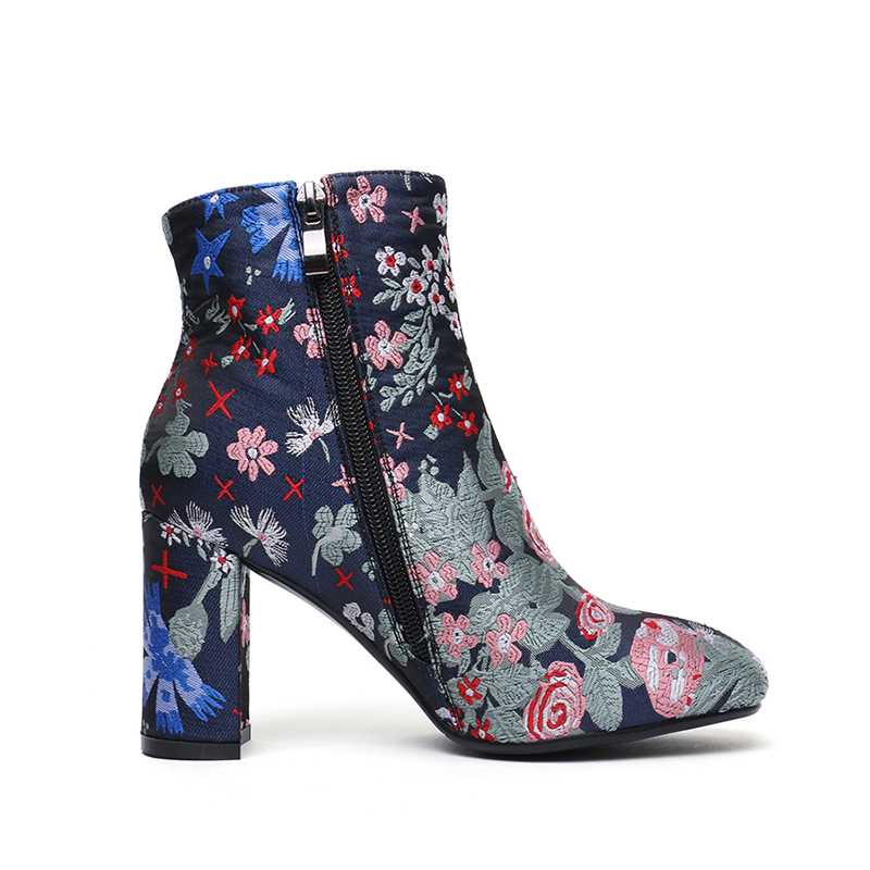 Fashion 2018 Women Boots Winter Warm High Heels Ankle Boots Woman Embroider Flower Women Shoes Round Toe Short Single Shoes Size in Ankle Boots from Shoes