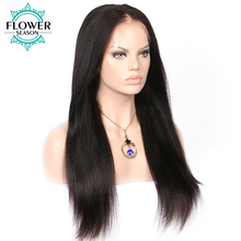 FlowerSeason Malaysian Yaki Straight Wig 13*6 Deep Parting Lace Front Human Hair Wigs With Baby Hair For Black Women Non Remy