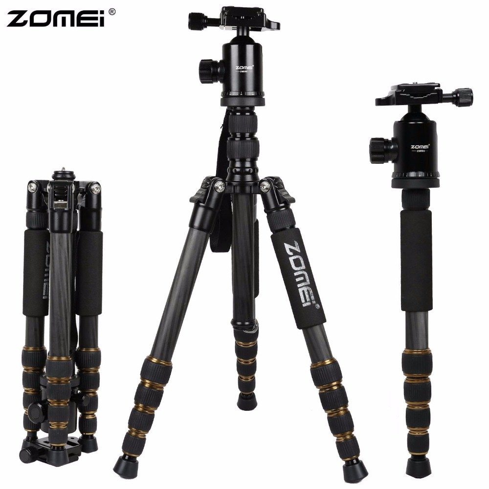ZOMEI Z699C Carbon Fiber Portable Professional Tripod Ball Head Compact Travel for Canon Sony Nikon Olympus DSLR Video Camera portable digital slr camera tripod stand ball head for canon nikon sony olympus pentax dslr dv camcorer lowangleshooting bk 555