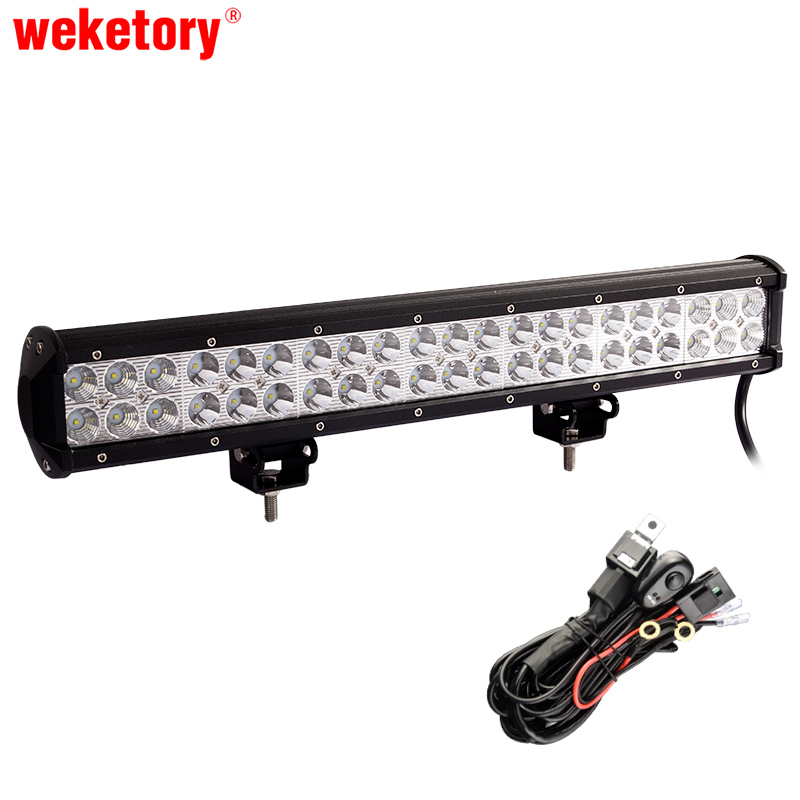 20 inch 126W LED Work Light Bar for Tractor Boat OffRoad 4WD 4x4 Truck SUV ATV Spot Flood Combo Beam 12V with Wiring Kit promotion 120w led offroad light 20 3inch led work light bar for working driving boat truck tractor 4x4 suv atv spot flood combo