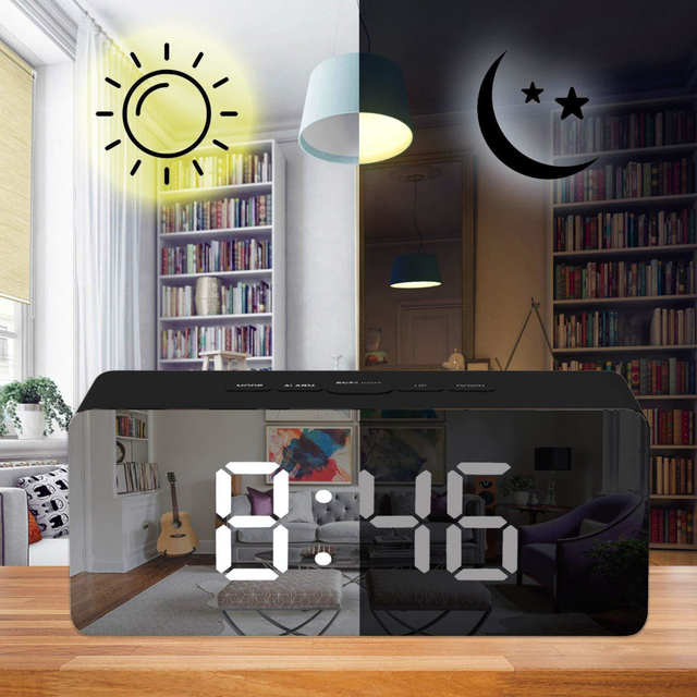 LED Mirror Alarm Clock Digital display Snooze Table Clock Wake Up Light  5