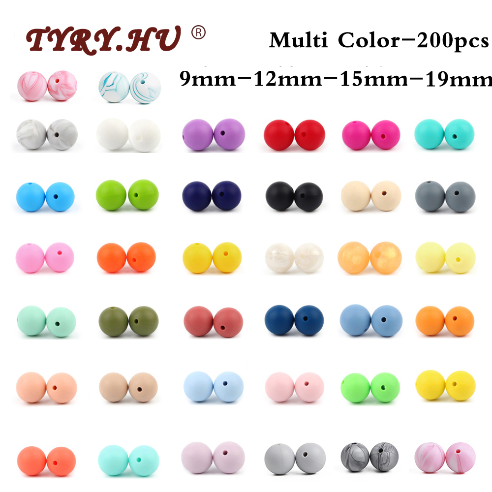 TYRY.HU 200pcs Food Grade Round Silicone Beads 12mm 9mm 15mm 19mm Baby Teething Toys DIY Baby Pendant Necklace Silicone Teether(China)