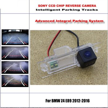 HD CCD SONY Rear Camera For BMW Z4 E89 2012-2016 Intelligent Parking Tracks Reverse Backup / NTSC RCA AUX 580 TV Lines