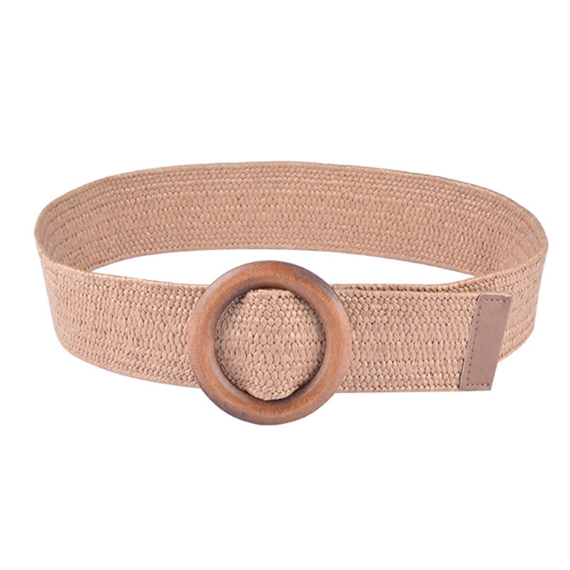 103 cm Femmes Tressé Paille ceinture ronde en bois Boucle Tissé PP Grass Taille Ceinture