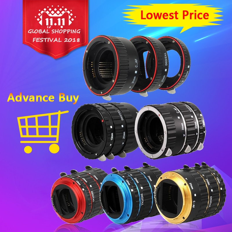 Camera Lens Adapter Metal Mount Auto Focus AF Macro Extension Tube Ring For Canon EOS EF-S Lens 750D 80D 7D T6s 6D 7D 5D Mark IV jjc metal auto focus adapter ring for fujifilm x mount for nikon f mount for canon ef ef s m4 3 e automatic extension lens tube