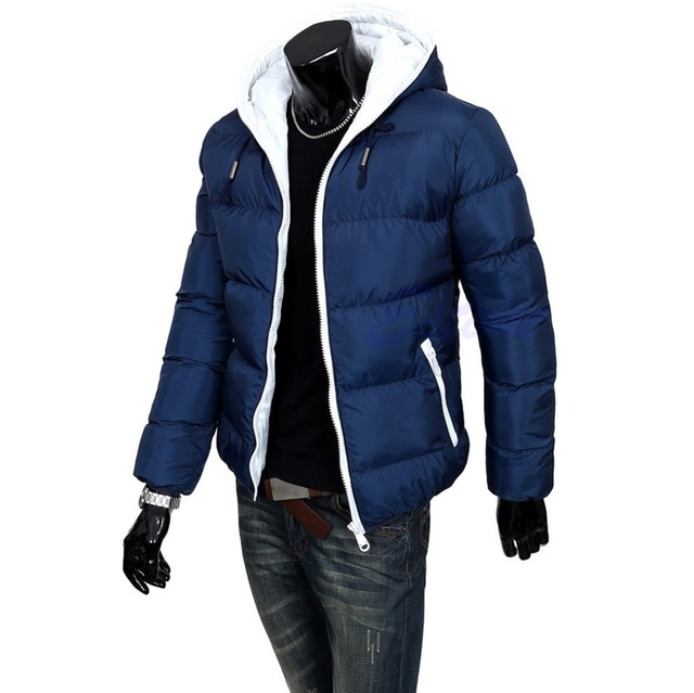 2015 Winter Men's Jacket Casual Cotton Thick Coat Hooded Parka Warm Down Outwear