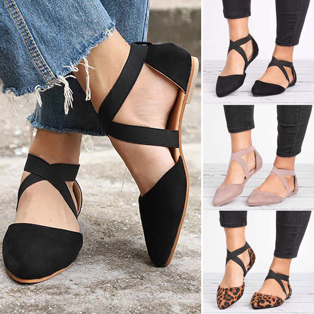 Women Ladies Fashion Pointed Toe Flat Spike Heels Buckle Elastic band Sandals Leopard Casual Sandals Single Shoes