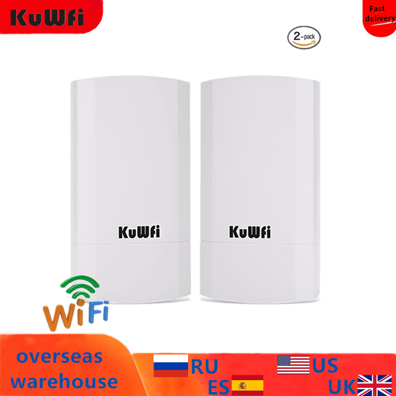 2 PCS 2.4Ghz 300Mbps 1KM Point To Point No Setting Wireless Outdoor CPE Router Bridge Access Point Supports WDS With LED Display