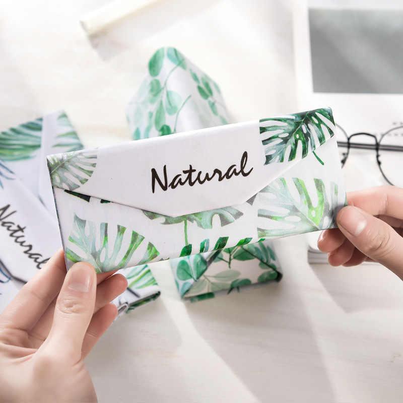 Студенческие близорукость складывающиеся очки футляр для солнцезащитных очков женские и мужские очки коробка свежие портативные Фламинго листья банан лист очки коробка