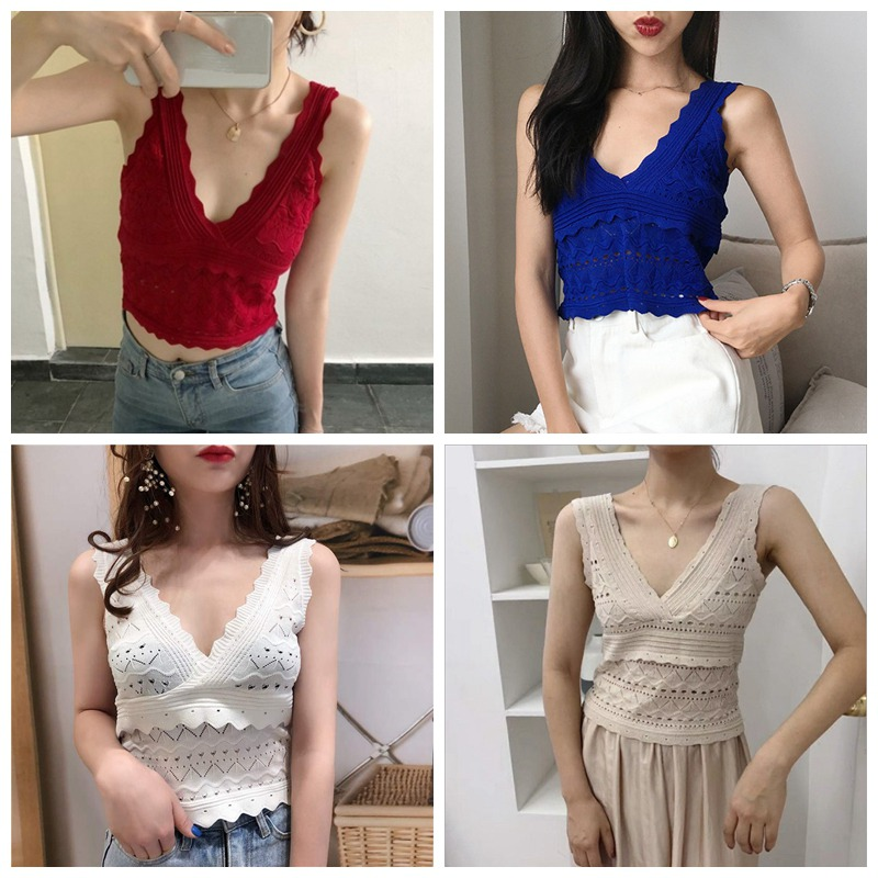 Fashion Summer Lace Hollow Out Sleeveless T-Shirt For Women Casual V-Neck Tight Knit Sleeveless Shirt