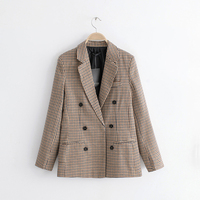 2018 Autumn Women Brown Plaid Blazers Female Jackets for Women s Outwear Feminine Office Ladies Notched Collar Tops Suits Sets
