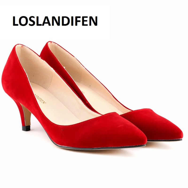 LOSLANDIFEN Women Pumps 6cm mid heel Classic Sexy Pointed Toe Kitten Heels Shoes Faux Suede Spring Brand Wedding Pumps 35-42 952 ...