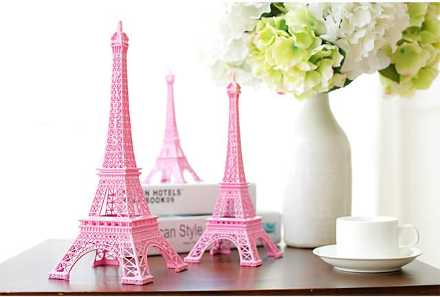 Online Shop Romantic Pink Paris 3d Eiffel Tower Model Alloy Eiffel