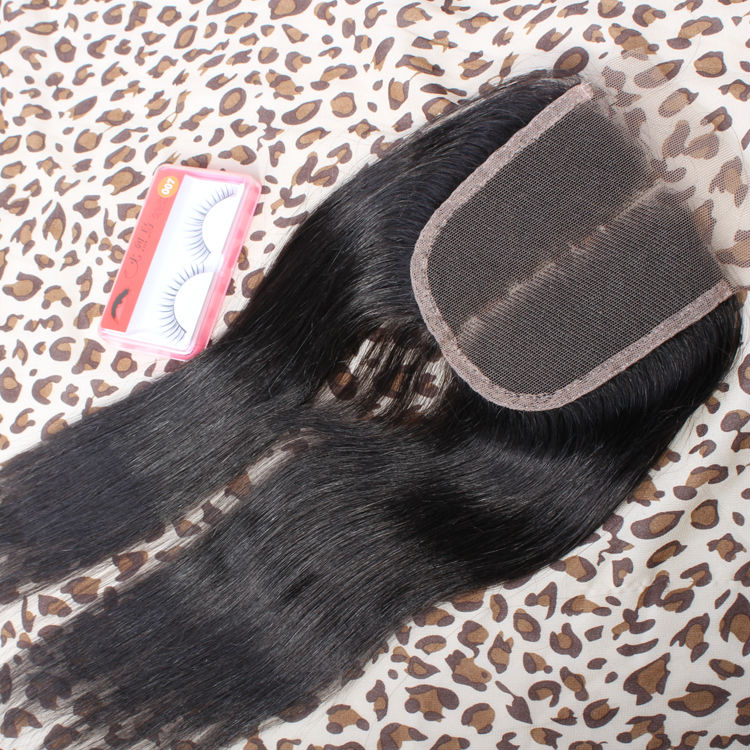 (4*4 ) Silky Straight Top Lace Closure Peruvian Virgin Human Hair Extensions 8-18 Good Quality UPS / Fedex Free Shipping