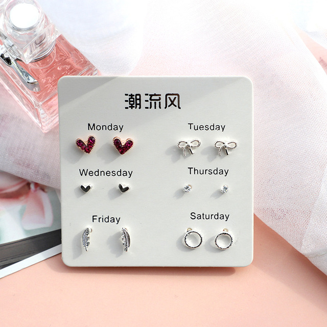 6 Pairs/set, 2019 New Earrings for Women Stars Heart Crytal Cute Earrings Fashion Jewelry Monday To Saturday 6 Pairs Earrings
