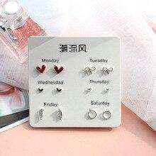 6 Pairs/set, 2019 New Earrings for Women Stars Heart Crytal Cute Earrings