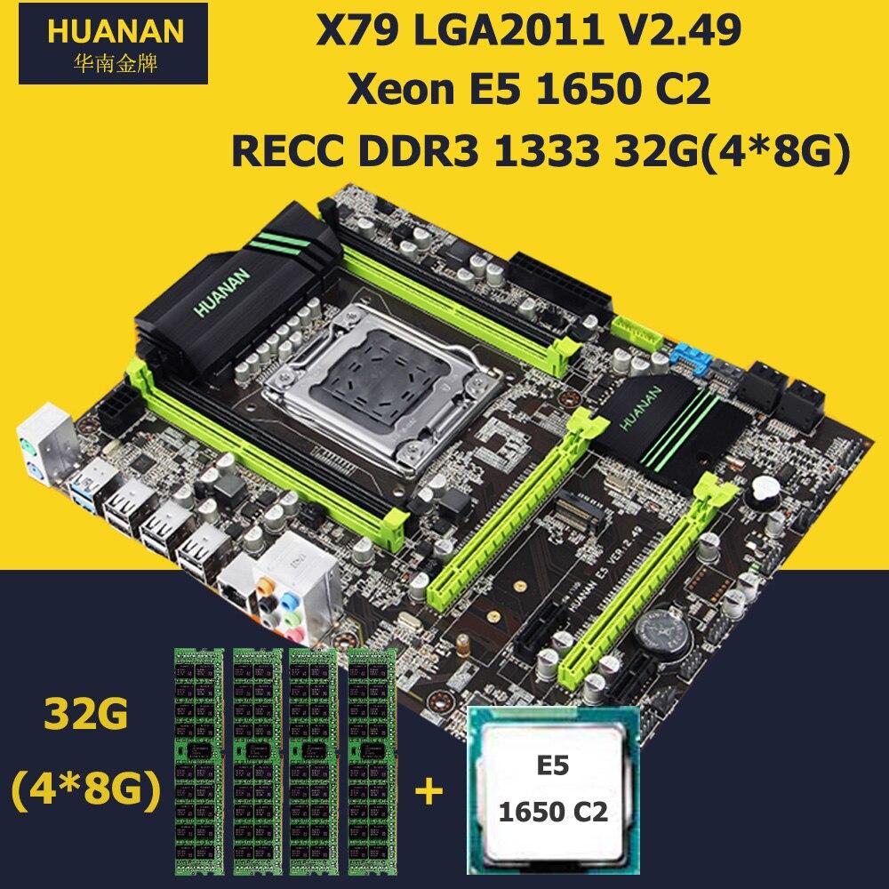 HUANAN V2.49 X79 motherboard CPU RAM combos CPU Xeon E5 1650 C2 RAM 32G(4*8G) DDR3 REG ECC PCI-E NVME SSD M.2 port all tested deluxe edition huanan x79 lga2011 motherboard cpu ram combos xeon e5 1650 c2 ram 16g 4 4g ddr3 1333mhz recc gift cooler