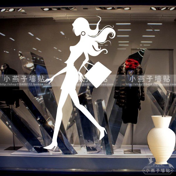 clothes shop wall sticker fashion shopping mural wall decal clothing store