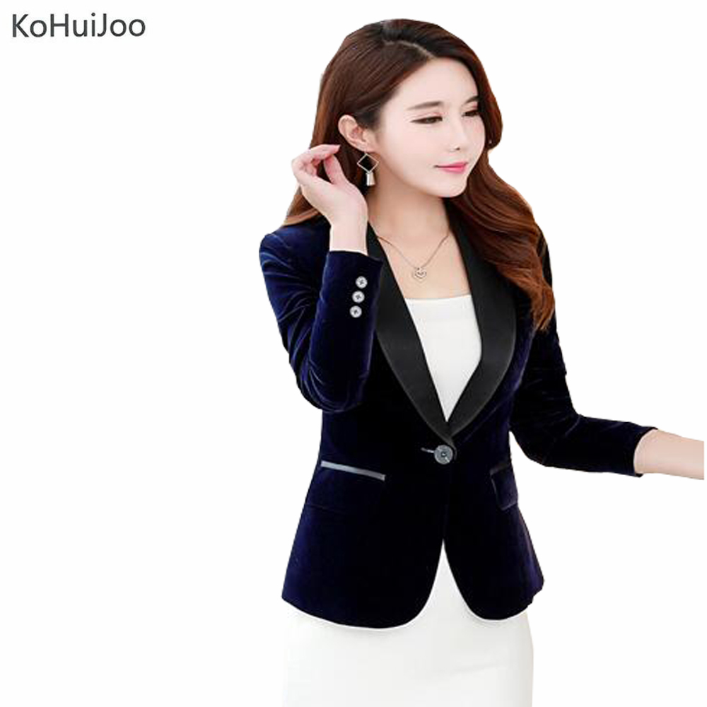 KoHuiJoo S-3XL Plus Size Women Velvet Blazer Coat 2017 Autumn One Button Slim Velvet Suit Jackets Female Red Blue Black