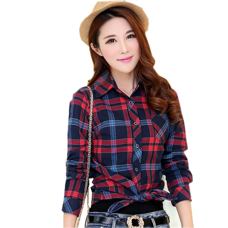 2017 Fashion Plaid Shirt Female College style women's Blouses Long Sleeve Flannel Shirt Plus Size Cotton Blusas Office tops 6689