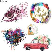 Prajna Fashion Girl Iron-On Transfer Eyeball Life Is Beautiful Letters Heat Transfers Vinyl Summer Style Car Stickers On Clothes