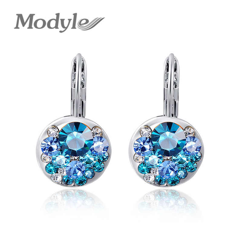 Modyle 2018 High Quality 4 Colors Round Stone Zircon Earrings Fashion Jewelry Best Gift For Woman Bijoux