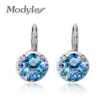 Modyle 2019 High Quality 4 Colors Round Stone Zircon Earring