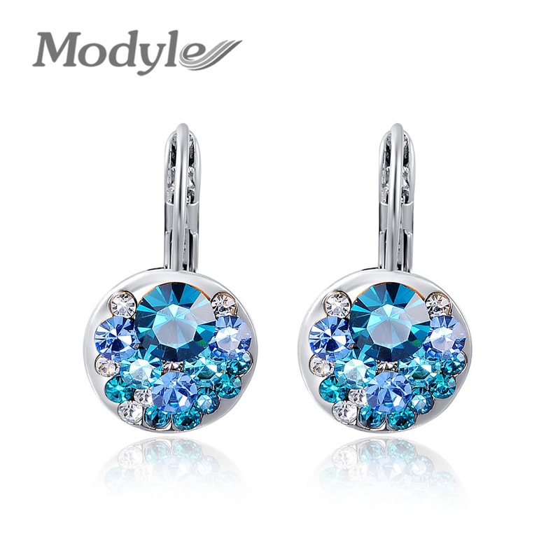 Modyle 2020 High Quality 4 Colors Round Stone Zircon Earrings Fashion Jewelry Best Gift For Woman Bijoux